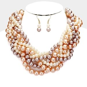 Braided Multi Strand Faux Pearl Necklace Set